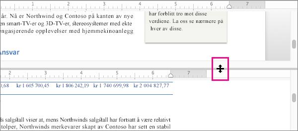 Du kan dele vinduet for å vise ulike deler av det samme dokumentet, samt vise forskjellige visninger.