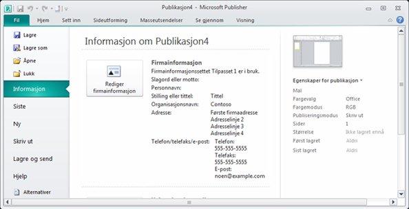 Firmainformasjon i Backstage-visning i Publisher 2010