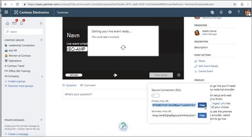 Side som vises mens Yammer Live-hendelse konfigureres for ekstern koder