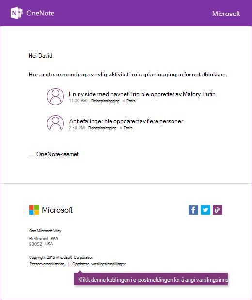 Et eksempel på e-postmelding i OneNote-varsler