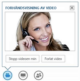 Skjermbilde av alternativene som vises når markøren holdes over videoknappen