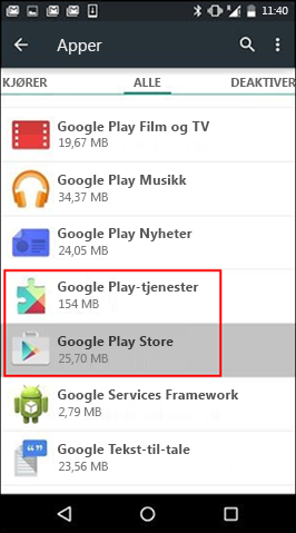 Tøm hurtigbuffer for Google Play Store-appen