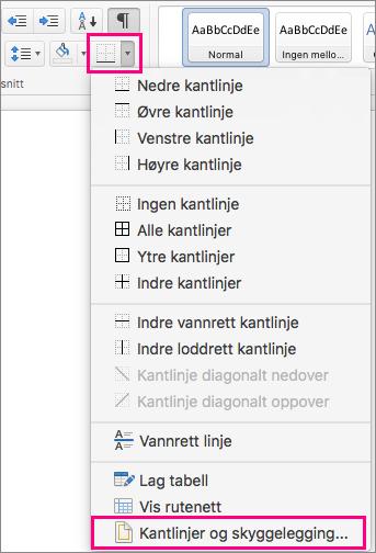 På Hjem-fanen er Kantlinjer-ikonet og Kantlinjer og skyggelegging uthevet.