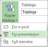 Knapp og meny for Kopier tidslinje i Project