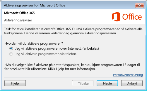 Viser aktiveringsveiviseren for Office 365