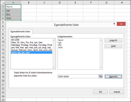 Dialogboksen for egendefinert liste fra Fil > Alternativer > Avansert > Generelt > Rediger egendefinerte lister. For Excel 2007 klikk på Office-knappen > Excel-alternativer > Populært > Rediger egendefinerte lister.