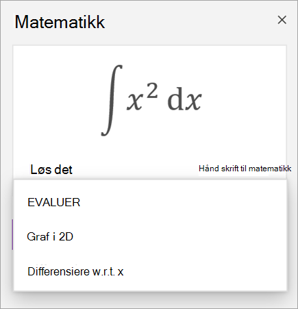 Eksempel formel som viser løsnings alternativer for dederiverte og integraler