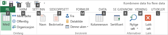 Power Query-søkebåndet – tastetips