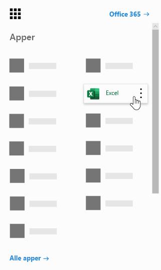 Startprogrammet for apper i Office 365 med Excel-appen uthevet