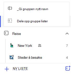 Skjerm bilde av Rediger-menyen i liste gruppen åpen med alternativet for å gi nytt navn til gruppe-eller del opp gruppe lister.