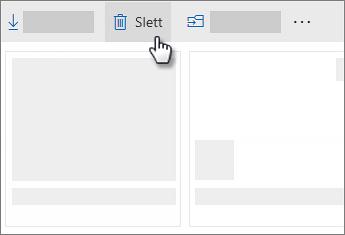 Skjermbilde av sletting av en fil i OneDrive