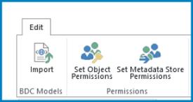 Et skjermbilde av Redigering-båndet i Business Connectivity Services som viser knappen for import av BDC-modell og tillatelsesinnstillinger.