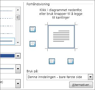 Dialogboksen for forhåndsvisning viser sidekantlinjer