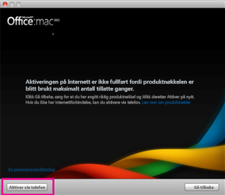 Skjermbilde av Aktiver via telefon i Office for Mac