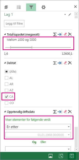 Filtre for numre, tekstverdier og datoer