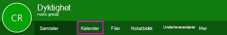 Kalender-knappen på båndet for grupper i OWA
