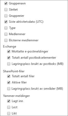 Rapporter for Office 365-grupper – velge kolonner