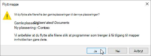 Et skjermbilde som viser advarselen som vises når du klikker Velg mappe i dialogboksen Velg et mål-dialogboksen.