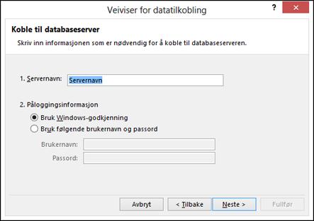 Veiviseren for datatilkobling > Koble til serveren