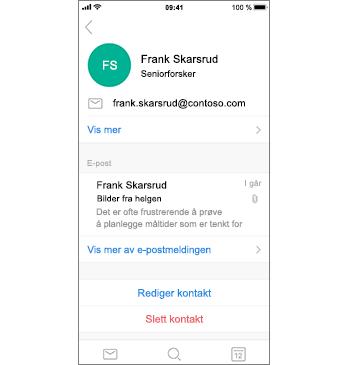 Kontaktside med Slett kontakt i rød tekst