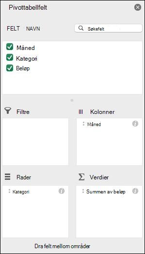 Eksempel på dialogboksen Pivottabellfeltliste for Excel