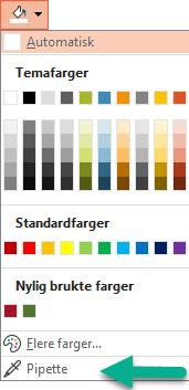 Pipette-kommandoen er på farge-menyen i formater bakgrunn-ruten.