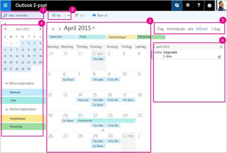 Bruk kalenderen til å administrere møter og andre hendelser.
