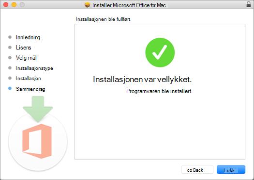 Viser den siste siden i installasjonsprosessen, som indikerer at installasjonen var vellykket.