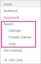 Koblingen Siste i hurtigstartfeltet viser de sist opprettede sidene, listene og bibliotekene