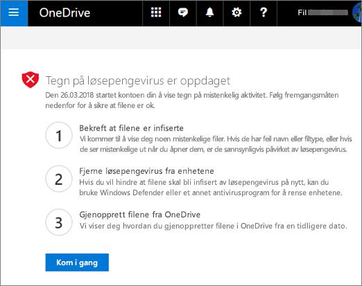 Skjerm bilde av tegn fra det oppdagede løse penge skjerm bildet på OneDrive-nettstedet