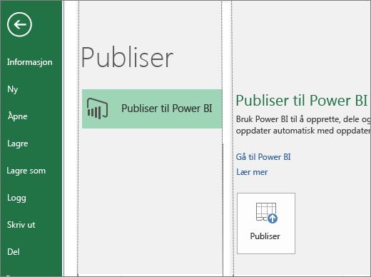 Publiser-fanen i Excel 2016 viser knappen Publiser til Power BI