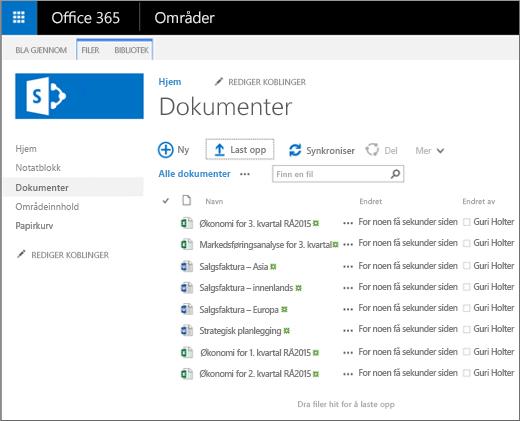 Et bilde av hvordan dokumentbiblioteket ser ut når du laster opp filer til det.