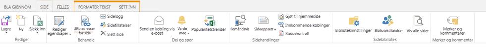 Skjermbilde av kategorien Side, som inneholder mange knapper for redigering, lagring, innsjekking og utsjekking av publiseringssider