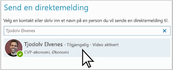 Søkeboks for Send direktemelding