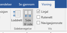 Side til side-visning i Word 2016