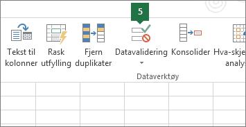 Validere rullegardinlisten ved å klikke Data > Datavalidering i Excel