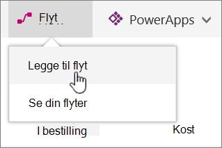 Flyt-menyen i listen med Legg til Flow uthevet