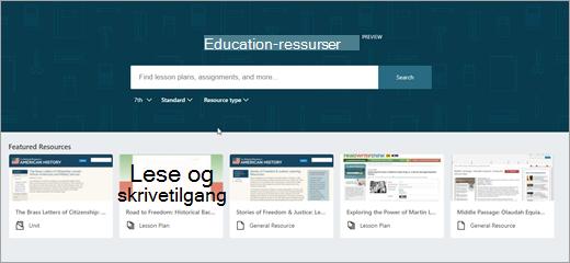 Andre versjonen av OneNote EDU ressurser standardbildet.