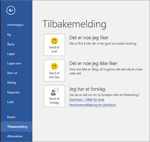 Klikk Fil > Tilbakemelding for å sende kommentarer eller forslag om Microsoft Visio