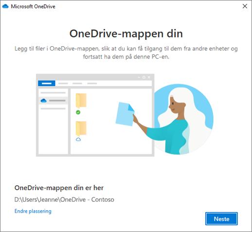 Skjermbilde Dette er OneDrive-mappen din i veiviseren Velkommen til OneDrive