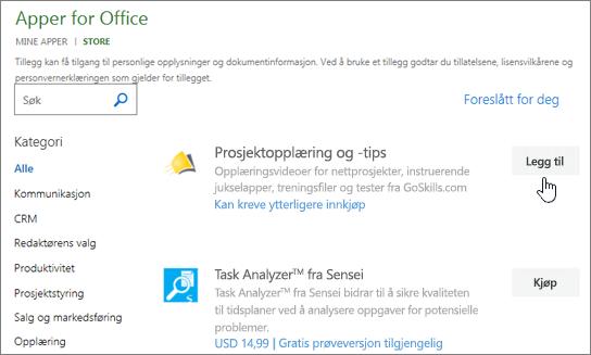 Skjermbilde av siden Office-tillegg i butikken der du kan velge eller søke etter et tillegg for prosjektet.