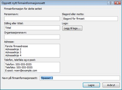 Opprette et nytt firmainformasjonssett i Publisher 2010