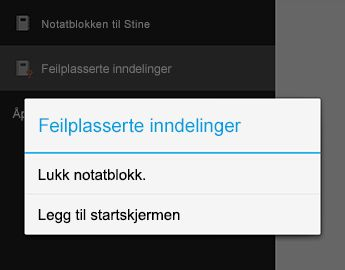 Kommandoen Lukk notatblokk i OneNote for Android