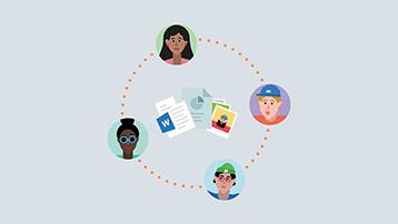 Personer-ikoner rundt dokumenter og bilder