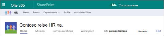 SharePoint-hub delt områdenavigasjon