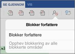 Dialogboksen for Blokker forfattere