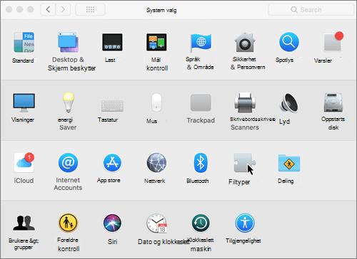 Skjermbilde av Systemvalg på Mac