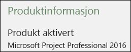 Produktinformasjon - Project Professional 2016