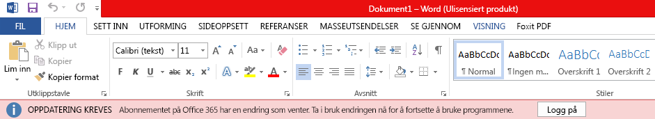 Rødt banner i Office-programmer som sier: OPPDATERING KREVES: Office 365-abonnementet har en utestående endring. Ta i bruk endringen nå for å fortsette å bruke programmene.
