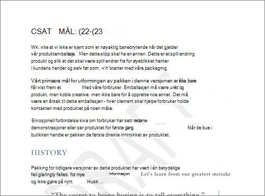 Eksempel på KLADDe vann merke på en side med tekst